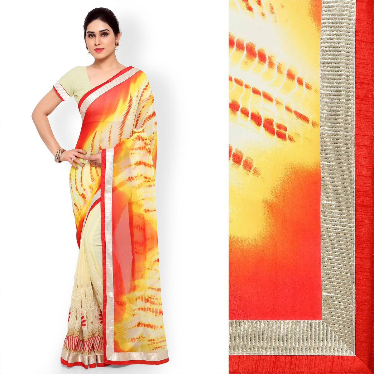 Orange - Cream Half & Half Saree