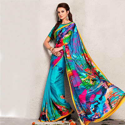 Blue Multicolored Digital Printed Saree