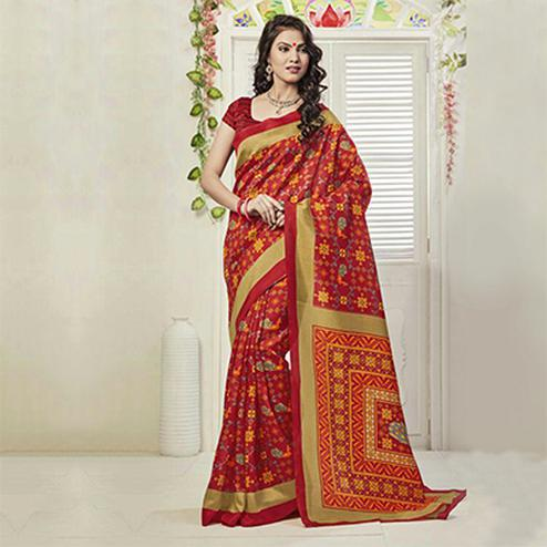 Red Casual Wear Art Silk Saree