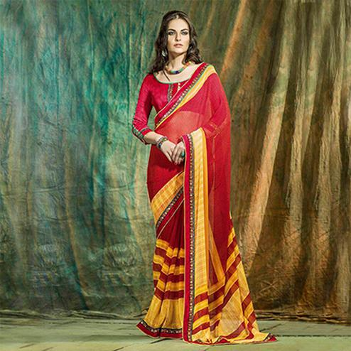 Red - Yellow Casual Wear Saree