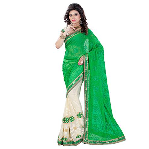 Green - Cream Embroidered Half Saree