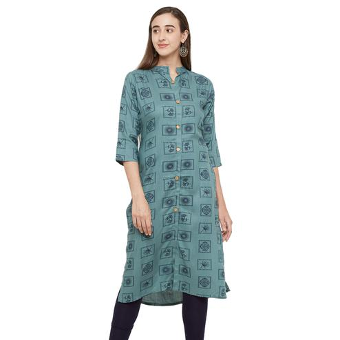 Intricate Olive Green Colored Casual Printed Cotton Kurti