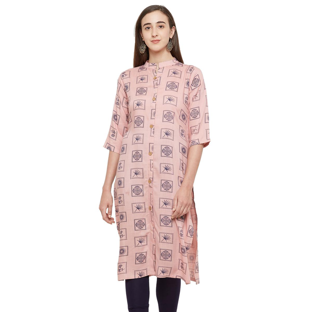 Arresting Pink Colored Casual Printed Cotton Kurti
