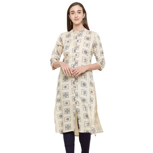 Desirable Cream Colored Casual Printed Cotton Kurti