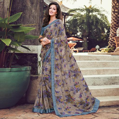 Gorgeous Grey Colored Partywear Designer Printed Georgette Saree