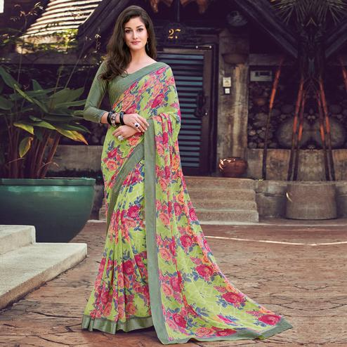 Blissful Green Colored Partywear Designer Printed Georgette Saree