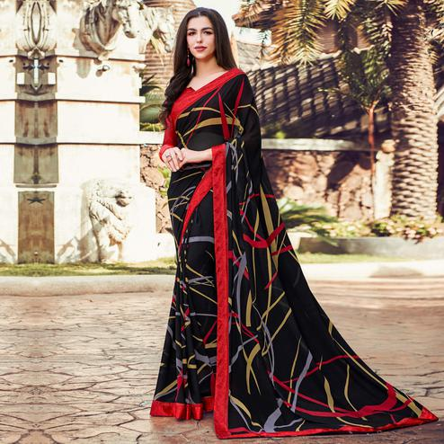 Ideal Black Colored Partywear Designer Printed Georgette Saree