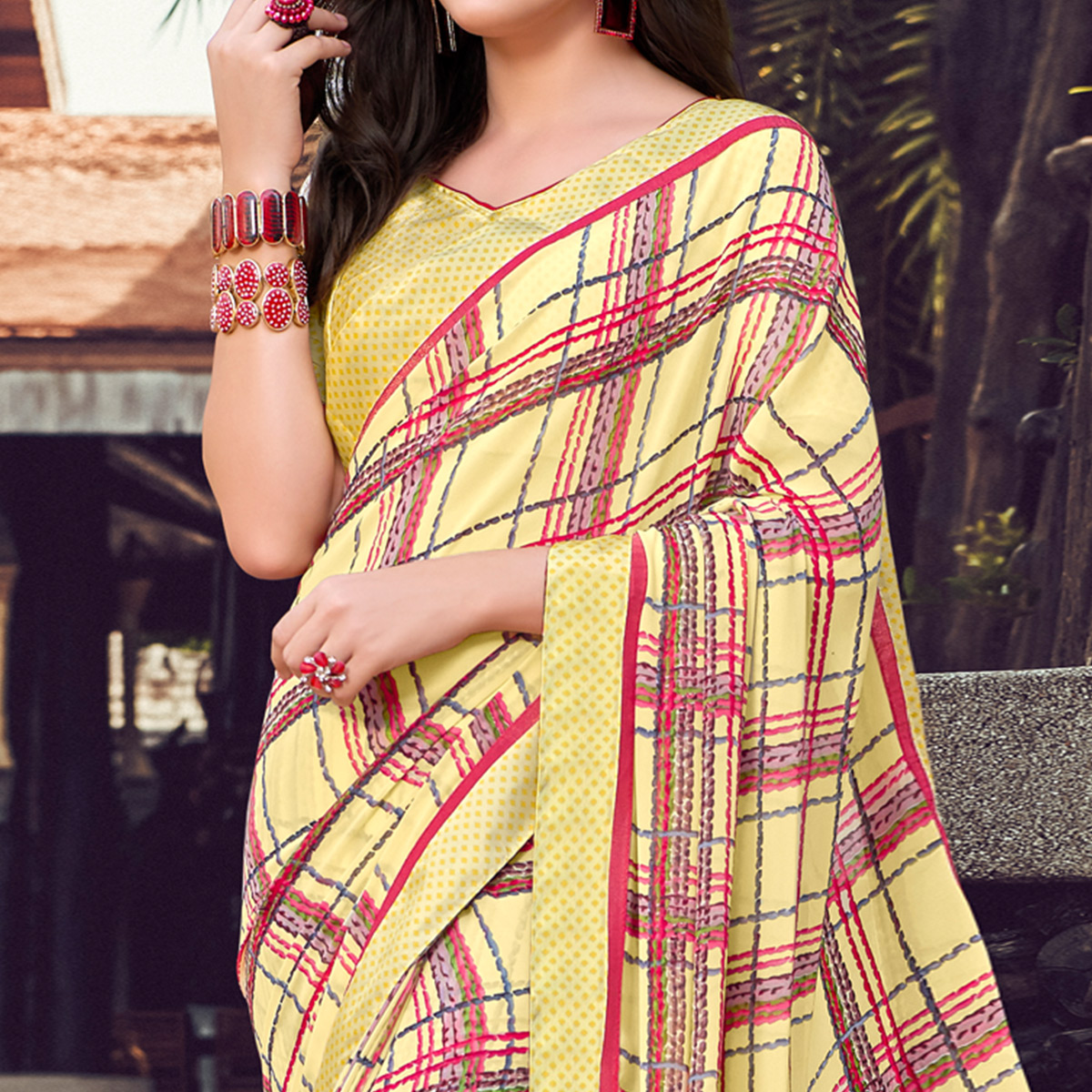 Imposing Light Yellow Colored Partywear Designer Printed Georgette Saree