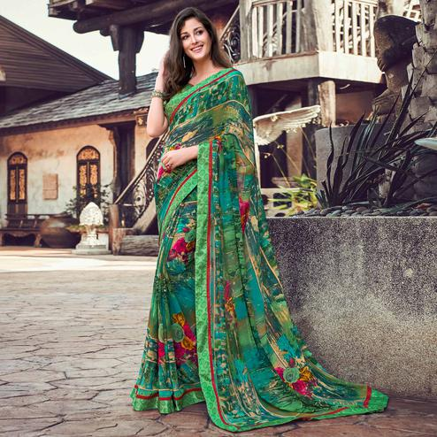 Mesmerising Green Colored Partywear Designer Printed Georgette Saree