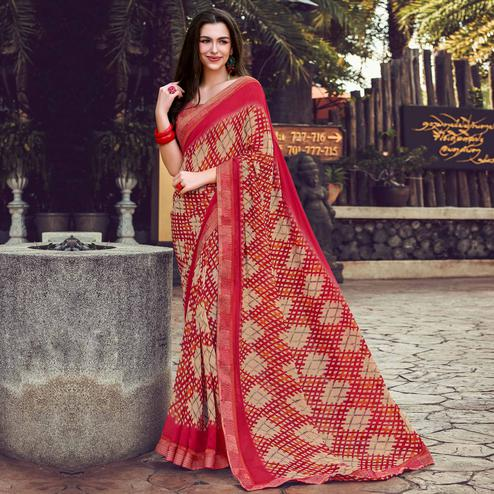 Pleasance Beige Red Colored Partywear Designer Printed Georgette Saree