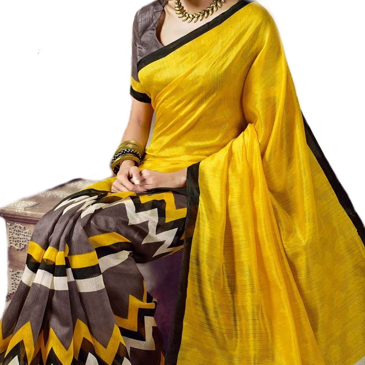 Yellow - Grey Art Silk Printed Saree