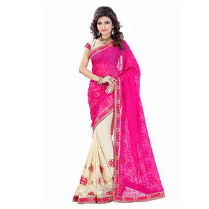 Magenta - Cream Party Wear Saree