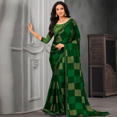 Sophisticated Green Colored Partywear Printed Chiffon Saree