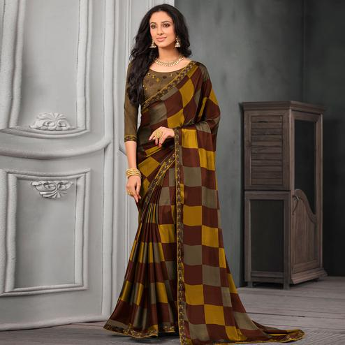 Trendy Brown-Yellow Colored Partywear Printed Chiffon Saree