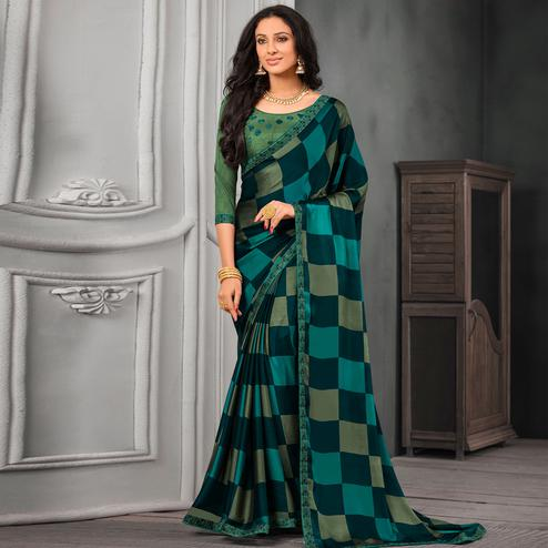 Radiant Green-Aqua Blue Colored Partywear Printed Chiffon Saree