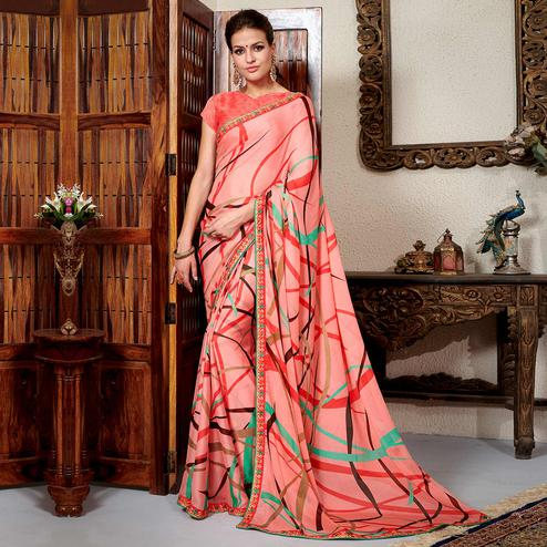 Intricate Pink Colored Casual Wear Printed Chiifon-Georgette Saree