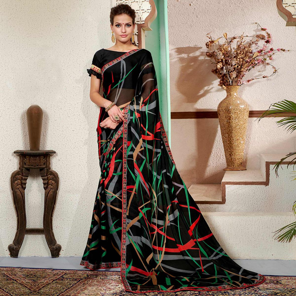 Desirable Black Colored Casual Wear Printed Chiifon-Georgette Saree
