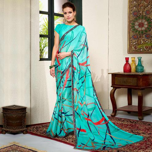 Exotic Blue Colored Casual Wear Printed Chiifon-Georgette Saree