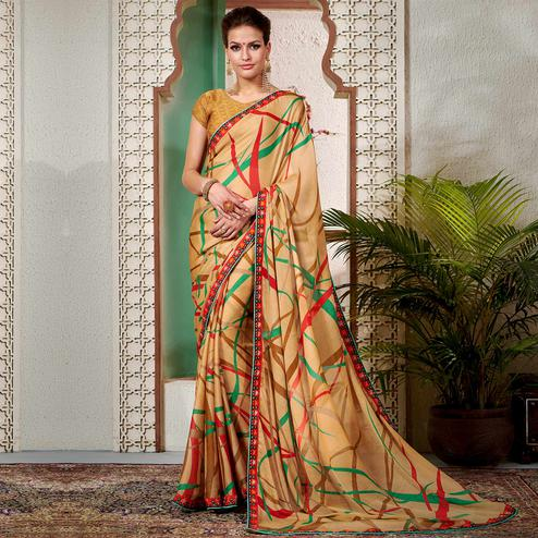 Elegant Beige Colored Casual Wear Printed Chiifon-Georgette Saree
