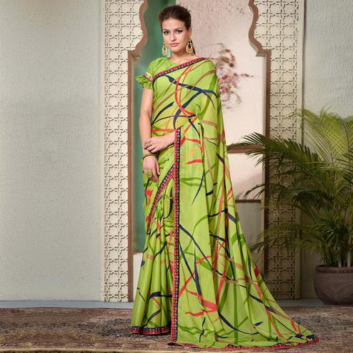 Radiant Green Colored Casual Wear Printed Chiifon-Georgette Saree
