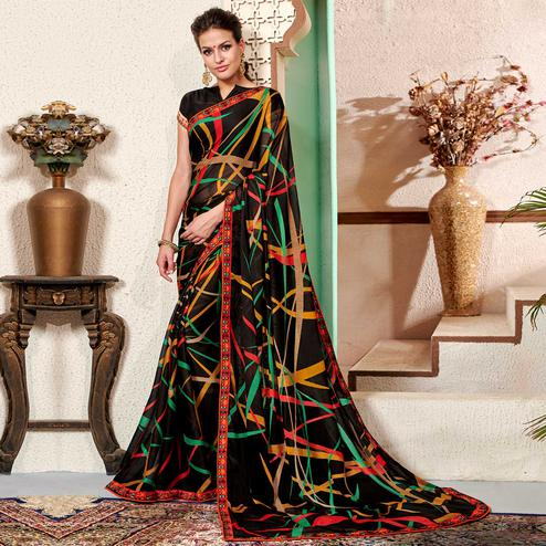 Pleasant Black Colored Casual Wear Printed Chiifon-Georgette Saree