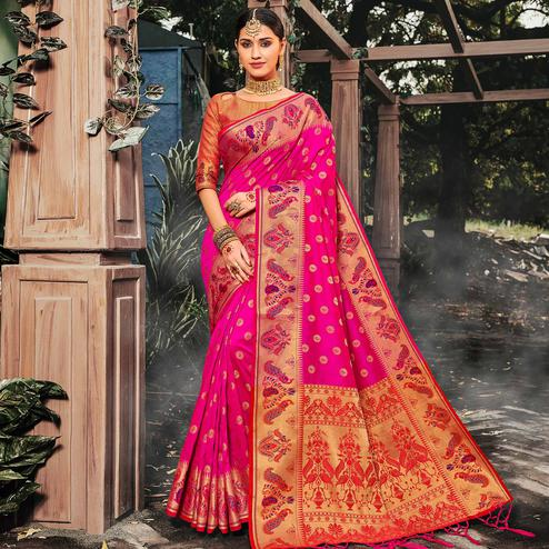 Desirable Pink Colored Festive Wear Woven Banarasi Silk Saree With Tassels