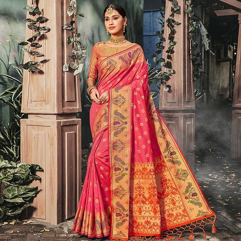 Trendy Peach Colored Festive Wear Woven Banarasi Silk Saree With Tassels