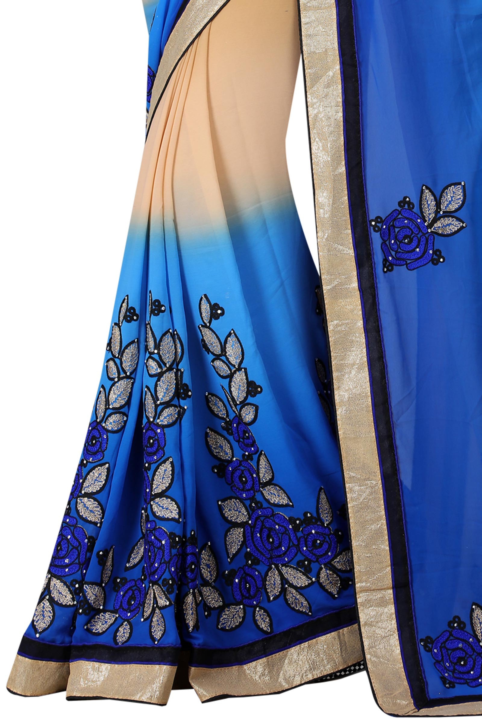 Shaded Blue - Beige Georgette Saree
