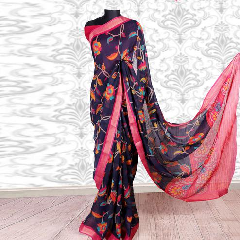 Glorious Navy Blue Colored Casual Wear Printed Cotton Silk Saree
