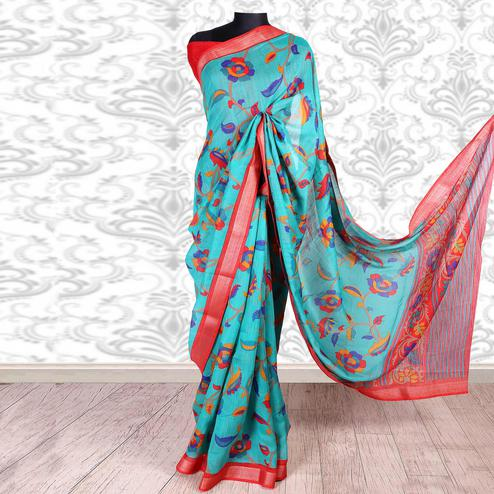 Beautiful Blue Colored Casual Wear Printed Cotton Silk Saree
