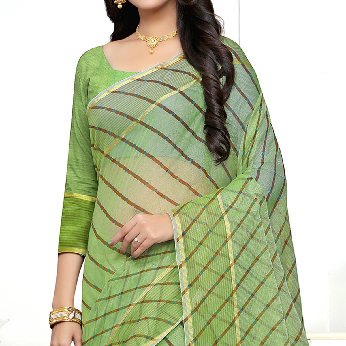Glorious Green Colored Casual Printed Super Net Saree