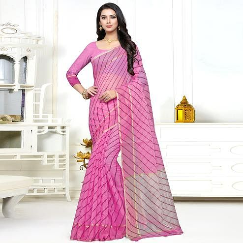 Beautiful Pink Colored Casual Printed Super Net Saree