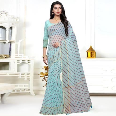 Graceful Aqua Blue Colored Casual Printed Super Net Saree