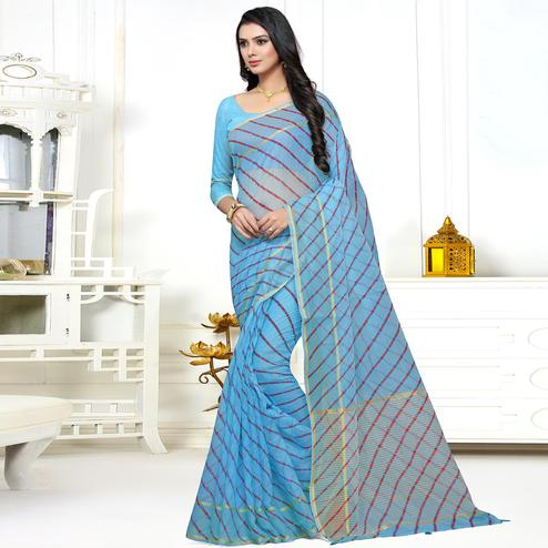Jazzy Sky Blue Colored Casual Printed Super Net Saree