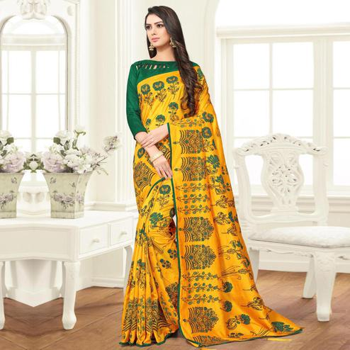 Arresting Yellow Colored Partywear Printed Sana Silk Saree