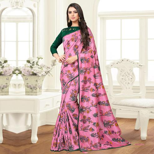 Exotic Pink Colored Partywear Printed Sana Silk Saree