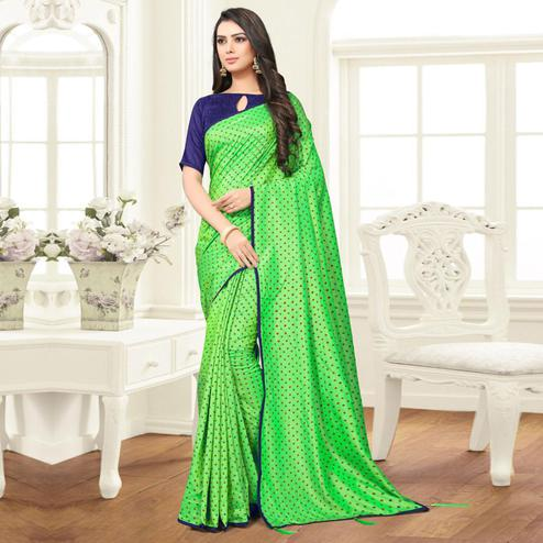Sophisticated Green Colored Partywear Printed Sana Silk Saree