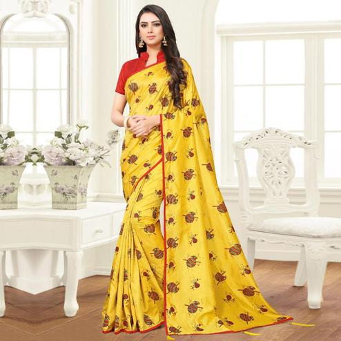 Trendy Yellow Colored Partywear Printed Sana Silk Saree