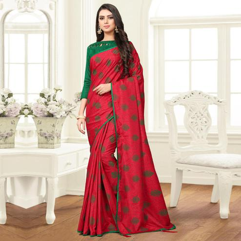 Elegant Crimson Red Colored Partywear Printed Sana Silk Saree