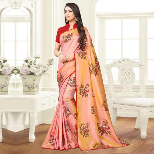 Radiant Light Pink Colored Partywear Printed Sana Silk Saree