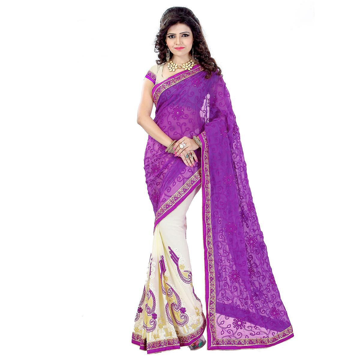 Cream - Purple Georgette Saree
