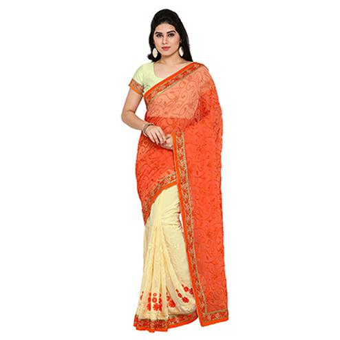 Cream - Orange Embroidered Saree