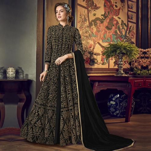 Capricious Black Colored Partywear Embroidered Netted Anarkali Suit