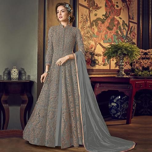 Groovy Grey Colored Partywear Embroidered Netted Anarkali Suit