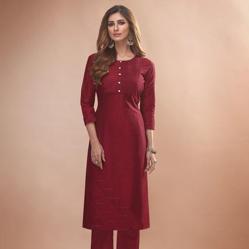 Adorable Maroon Colored Partywear Embroidered Viscose Kurti
