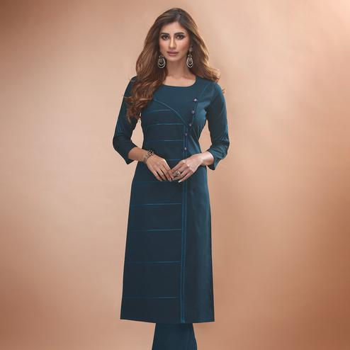 Glorious Teal Blue Colored Partywear Embroidered Viscose Kurti