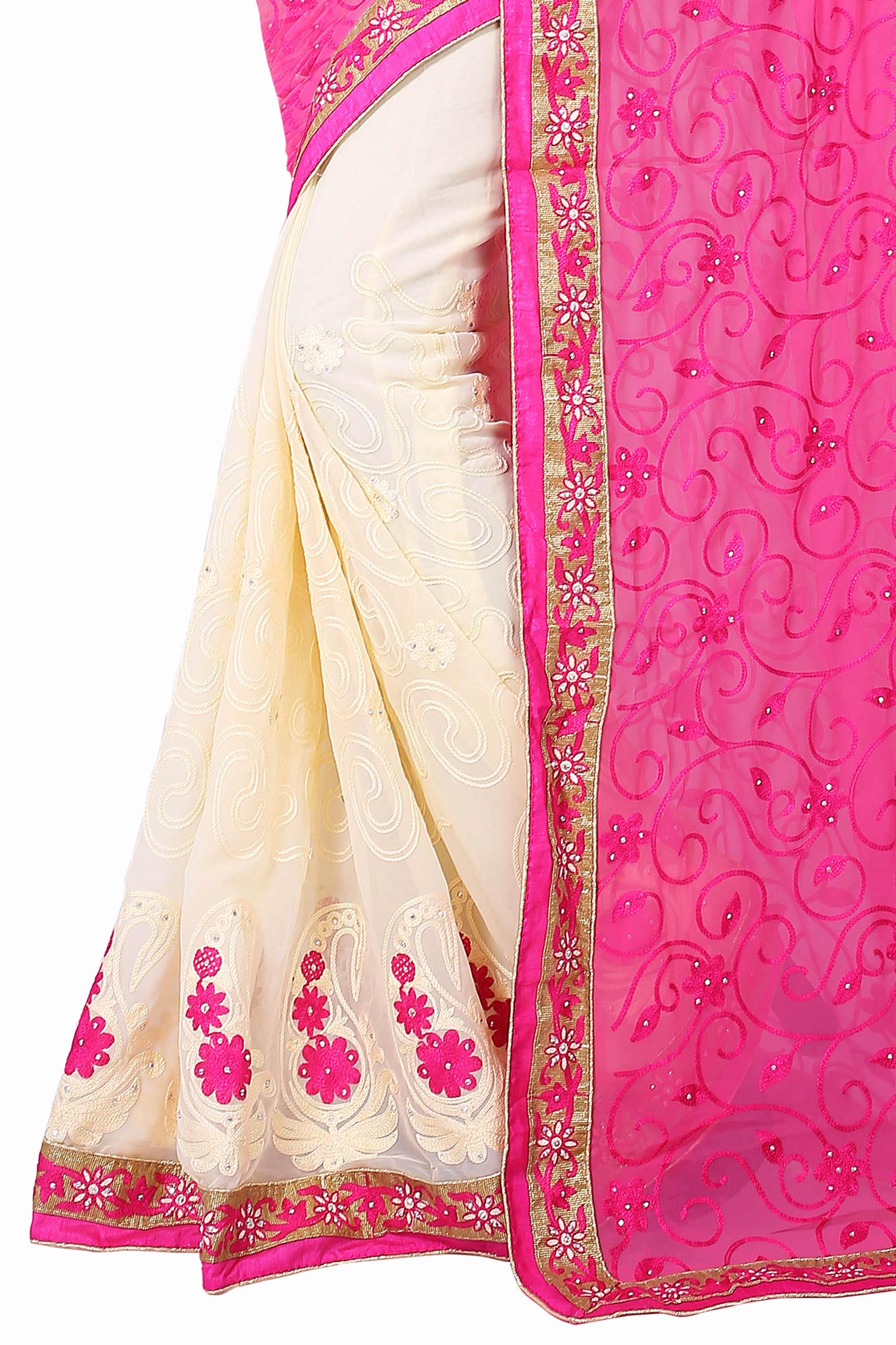 Cream - Pink Half & Half Saree