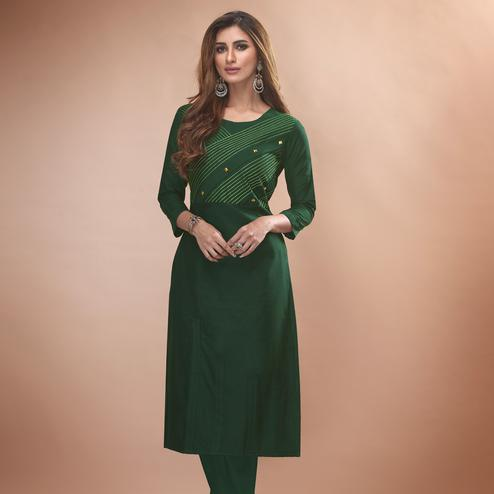 Beautiful Dark Green Colored Partywear Embroidered Viscose Kurti