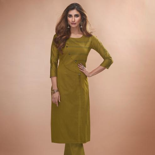 Graceful Olive Green Colored Partywear Embroidered Viscose Kurti