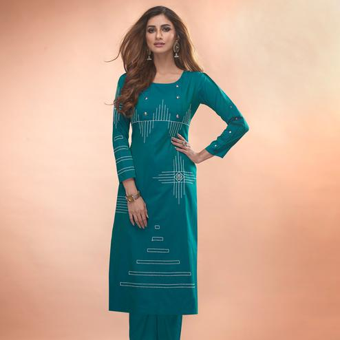 Blooming Rama Blue Colored Partywear Embroidered Viscose Kurti